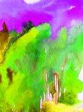 Lavage humide texturisé moderne de forêt de ressort de paysage de fond d'abrégé sur art d'aquarelle le beau d'arbres modernes de  Photographie stock
