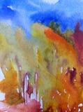 Lavage humide texturisé moderne de paysage de fond d'abrégé sur art d'aquarelle le beau d'automne de forêt d'arbres frais de coll Photos libres de droits