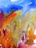 Lavage humide texturisé moderne de paysage de fond d'abrégé sur art d'aquarelle le beau d'automne de forêt d'arbres frais de coll Images stock