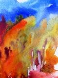 Lavage humide texturisé moderne de paysage de fond d'abrégé sur art d'aquarelle le beau d'automne de forêt d'arbres frais de coll Photo libre de droits