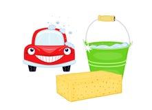 Lavagem de carro com carro vermelho ilustração stock