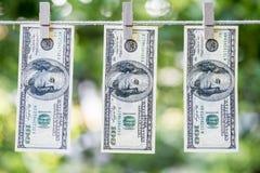 Lavagem de dinheiro Os dólares americanos de lavagem de dinheiro penduraram para fora para secar 100 notas de dólar que penduram  Imagem de Stock Royalty Free