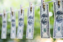 Lavagem de dinheiro Os dólares americanos de lavagem de dinheiro penduraram para fora para secar 100 notas de dólar que penduram  Imagem de Stock