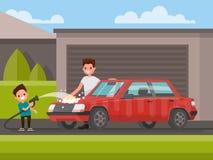 Lavagem do carro fora O pai e o filho estão lavando o carro Vetor Imagem de Stock