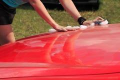 Lavagem vermelha do carro Fotografia de Stock