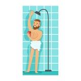 Lavaggio egli stesso dell'uomo con la pezzuola per lavare in doccia, parte della gente nel bagno che fa le loro procedure sistema Immagine Stock Libera da Diritti