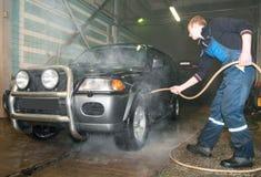 Lavaggio manuale dell'automobile Fotografie Stock