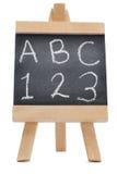 Lavagna con il ABC delle lettere e i 123 Fotografia Stock Libera da Diritti