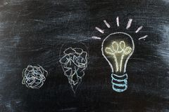 Lavagna con il disegno di gesso dell'attaccatura della lampadina Idea luminosa fotografia stock