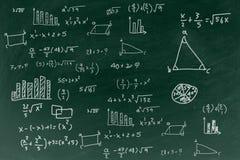 Lavagna con il fondo di formula di per la matematica di scrittura, di nuovo al concetto di istruzione scolastica Fotografia Stock