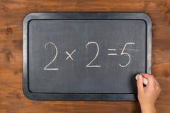 Lavagna con l'equazione sbagliata ed il gesso di per la matematica a disposizione Fotografia Stock