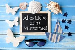 Lavagna con la decorazione marittima, mezzi di Muttertag buona Festa della Mamma Fotografia Stock