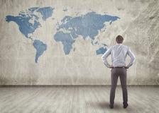 Lavagna con la mappa di mondo Immagini Stock