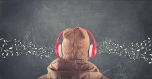 Lavagna con le note musicali disegnate Immagini Stock Libere da Diritti