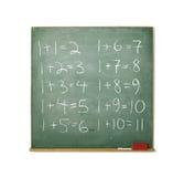Lavagna con per la matematica facile isolato su bianco Immagini Stock Libere da Diritti