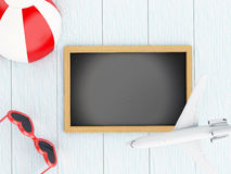 lavagna 3d, aeroplano, beach ball ed occhiali da sole Immagini Stock