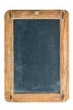 Lavagna d'annata con la struttura di legno isolata su bianco Immagini Stock