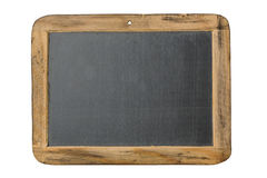 Lavagna d'annata con la struttura di legno isolata su fondo bianco Fotografie Stock Libere da Diritti