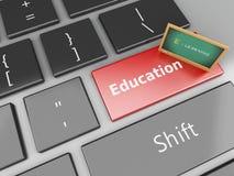 lavagna 3d sulla tastiera di computer Fotografia Stock Libera da Diritti