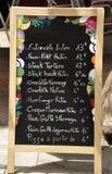 Lavagna del menu Immagine Stock