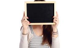 Lavagna della tenuta della donna Fotografia Stock Libera da Diritti