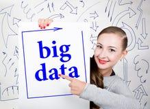 Lavagna della tenuta della giovane donna con la parola di scrittura: grandi dati Tecnologia, Internet, affare e vendita Fotografie Stock