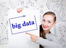 Lavagna della tenuta della giovane donna con la parola di scrittura: grandi dati Tecnologia, Internet, affare e vendita Immagini Stock