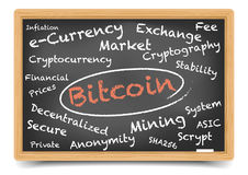 Lavagna di Bitcoin Fotografia Stock