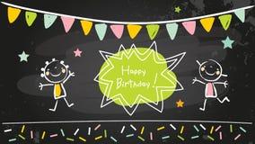 Lavagna di buon compleanno illustrazione di stock