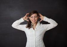Lavagna di emicrania della donna Fotografia Stock