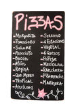 Lavagna, menu di vari tipi di pizze Fotografie Stock Libere da Diritti