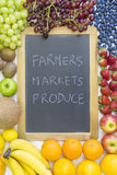 Lavagna nera per i prodotti dei mercati degli agricoltori Immagini Stock