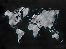 Lavagna o lavagna con la mappa del mondo Fotografie Stock