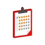 Lavagna per appunti con il simbolo di valutazione Icona o logo isometrica piana st 3D Immagini Stock