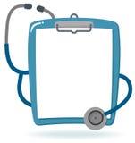 Lavagna per appunti con lo stetoscopio e la carta in bianco illustrazione vettoriale
