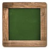 Lavagna quadrata con la struttura di legno isolata fotografia stock