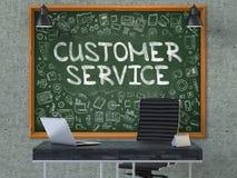 Lavagna sulla parete dell'ufficio con il concetto di servizio di assistenza al cliente 3d Fotografia Stock Libera da Diritti