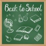 Lavagna verde con gli oggetti gesso-disegnati della scuola illustrazione di stock