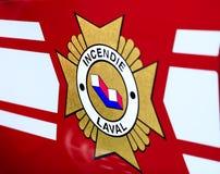 Laval, Καναδάς: Στις 13 Οκτωβρίου 2018: Γαλλική επιγραφή στην πυρκαγιά στοκ φωτογραφία με δικαίωμα ελεύθερης χρήσης