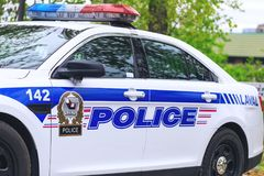Laval, Kanada: Am 19. Mai 2018 Schönes Auto der kanadischen Polizei ist Lizenzfreie Stockfotografie