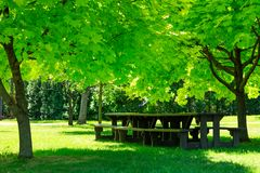 Laval, Quebec, Canada: June 02, 2018. A picnic table. stock image
