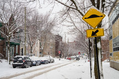 Laval Street during snow storm in Montreal Stock Photo