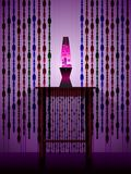 Lavalamp and beaded curtains. A retro scene with lava lamp and beaded curtains vector illustration
