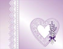 Lavanda & presente viola del cuore del merletto Fotografia Stock