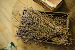 Lavanda dannata nella decorazione di legno della scatola Immagini ...