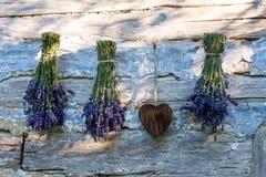 Lavanda y corazón de madera Fotos de archivo