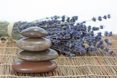 Lavanda y piedras Foto de archivo