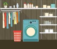 Lavandaria com máquina de lavar Imagens de Stock
