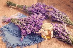 Lavander with aromatic oil Stock Image