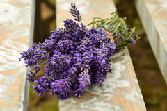 Lavander bouquet. Is lying on the hay Royalty Free Stock Images